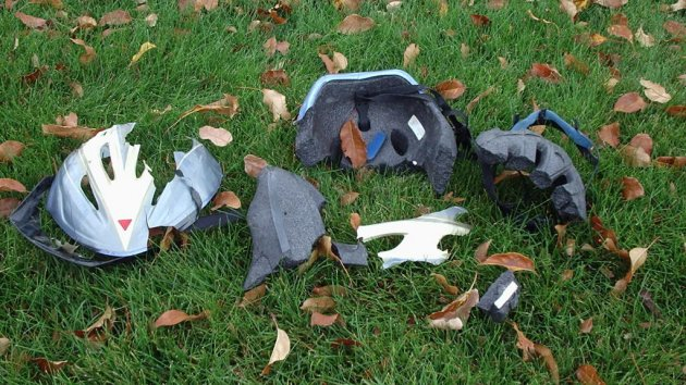 broken bike helmet crop